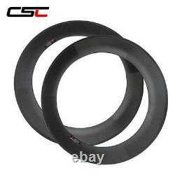 1 Pair Clincher Tubular Tubeless Carbon Road Bike Rim 24 38 50 60 88mm Rim