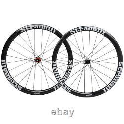 40mm Disc brake Carbon Wheelset Clincher Road Bike Wheels 700C 6-bolt Glossy Rim