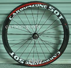 50mm Tubular Wheels Bicycle Wheelset Decals 11s Full Carbon 700C Road Bike