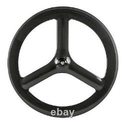 700CTri Spokes Carbon Wheels 65mm Depth Clincher Road Bike Tri Spoke Rear Wheel