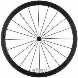 700C 38mm Clincher Bicycle Wheels Road Bike Carbon Wheelset 23mm Width Matte