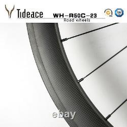 700C 3K 50mm Full Carbon Road Racing Bike Bicycle Wheelset 20/24h Wheels OEM Rim