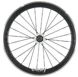 700C 50mm Carbon Wheels Road Bike 23mm Clincher Carbon Wheelset Alloy Brake Line