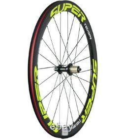 700C 50mm Clincher Carbon Bicycle Wheels Road Bike Racing Wheelset 3k Glossy