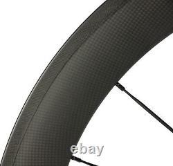 700C 60mm Clincher Road Rim Bike/Bicycle Carbon Wheelset Front & Rear Wheels