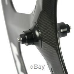 700C 70mm Road Bike Carbon Tri Spoke Wheelset 3 Spokes Carbon Wheels Track Bike