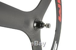 700C Carbon 3 Spoke Wheel Road Track Tri Spoke 70mm Tri Spoke Wheels Front
