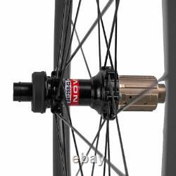 700C Disc Brake Carbon Wheelset 45mm Road Bike Clincher 25mm Wheels THRU AXLE