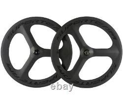 700C Tri Spoke Carbon Wheels Road Bike 3 Tri Spoke Cycling Wheelset Shimano Hub