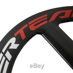 700C Tri Spoke Carbon Wheelset Front Road Bicycle Wheel Superteam Clincher Wheel