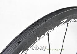 700C road bike rear wheel 38mm Clincher Bicycle white sticker rim 3k matt