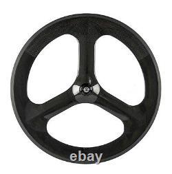 70mm Tri Spoke Carbon Wheels Road/Track Bike Wheel 3 Spoke 700C Clincher Bike