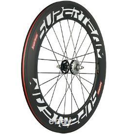 88mm Carbon Wheels Road Bike Fixed Gear Track Bike Wheelset 700C Clincher 23mm