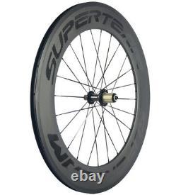 88mm Carbon Wheels Road Bike Racing Cycle Wheelset 700C 23mm 3k Matte Black logo