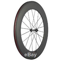 88mm Clincher Bicycle Wheels Road Bike 700C Race Carbon Wheelset 3K Matte Basalt