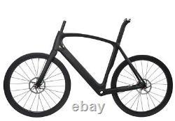 AERO Carbon Road Bike Frame Wheels Disc Brake Clincher Tubeless Rotors 700C 49cm
