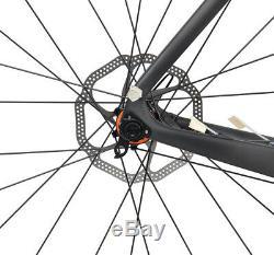 Aero Carbon frame Road Bike Wheels Clincher Tubeless Rotors 700C Disc Brake 54cm