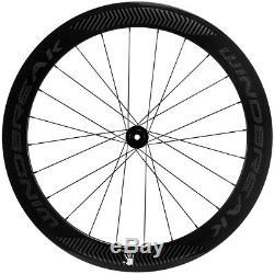 Carbon Disc Brake Wheelset 60mm Road Bike Clincher Thru Axle/QR Bicycle Wheels