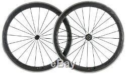 Carbon Wheels Road Bike 50mm Aluminum Brake Surface Clincher Wheelset 700C Bike