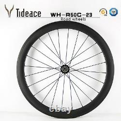 Cycling 700C 23mm width Carbon Fiber Road Bike Wheels Front+Rear OEM Bicycle Rim