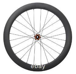 Disc Brake Carbon Road Bike Wheels Clincher Tubeless 6 bolts 700C Matt Rim 55mm