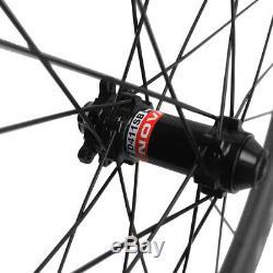 Disc Brake Wheels Carbon 55mm Clincher Road Bike Disc Brake Wheelset Thru Axle
