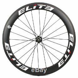 ELITE Carbon Fiber Wheels700C Clincher Road Bike Wheelset Tubeless Novatec Hub