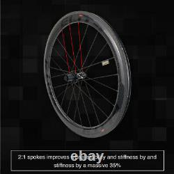 Elite ENT 60mm Carbon Wheels Road Bike Clincher Bicycle Wheelset 700C Racing