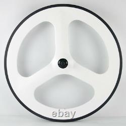 Front 70mm Tri Spokes Rear Disc Wheels Road Bike Carbon Wheelset Painting White