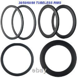Full Carbon Rims 38 50 60 88mm x25 U Shape Tubeless 700C Carbon Road Rim