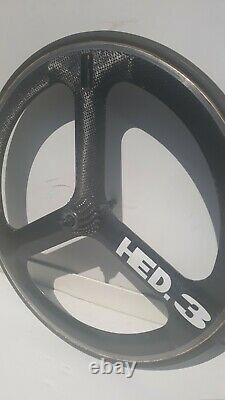 HED Tri- Spoke Carbon Road Bike Wheel. Rear