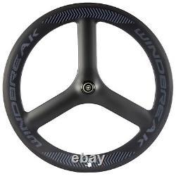 Rear Tri Spoke 65mm Tri Spoke Bicycle Wheel 700C Carbon 3 Spoke Wheel Road Bike
