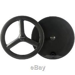 Road Bike Disc Rear Wheel Clincher Front 65mm 3 Spoke Wheel Carbon Wheelset TT