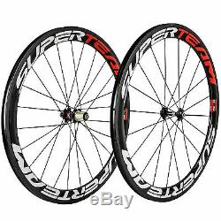 SUPERTEAM 50mm Road Bike Carbon Wheels Clincher Red/White Glossy 271 Hub Bicycle