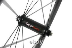 SUPERTEAM Road Bike Carbon Wheelset 50mm Clincher Bicycle Wheels R36 Hub Sapim