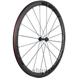SUPERTEAM Road Bike Wheels 38mm Carbon Fiber Wheelset Clincher Bicycle Wheelset