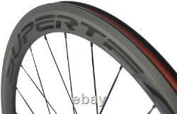 Superteam 50mm Carbon Bicycle Wheelset 25mm Width Clincher Road Bike Wheels 700C