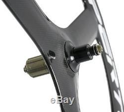 Superteam 65mm Carbon Fiber Tri Spoke Wheelset Road Bike 3 spokes Carbon Wheels