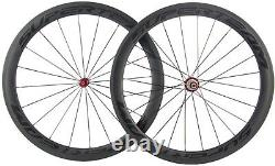 Superteam 700C Clincher Carbon Wheelset 50mm Road Bike Wheels 23mm Bicycle Wheel