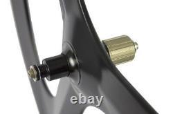 Superteam 700C Clincher Tri Spoke Road Wheels 70mm Depth 3 Spoke Carbon Wheelset