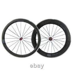 Superteam Carbon Wheelset Aluminum Brake Surface Road Bike 700C 50mm+80mm Wheels