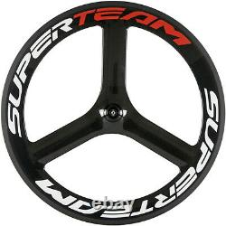 Superteam Tri Spoke Carbon Wheel 700C Clincher Wheel Front Road Bike Wheel Only