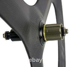 Superteam Tri spoke Wheels 70mm 3 Spoke Clincher Carbon Road Bike Wheels 700C