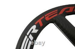 T700C Superteam 65mm Tri Spoke Carbon Wheelset 3 Spokes Road Bike Bicycle Wheels